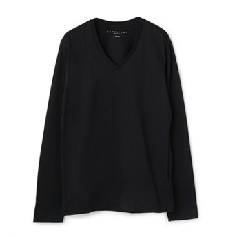 ESTNATION VネックロングスリーブTシャツ ブラック/SMALL(エストネーション)◆メンズ Tシャツ/カットソー