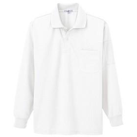 アイトス 吸汗速乾(クールコンフォート)ペン差し付長袖ポロシャツ(男女兼用) 001ホワイト SS 10600-001-SS