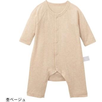 カエルロンパース ベビー服 フライス GITA ジータ 長袖 ロンパース 前開き 綿100% ベビー 服 新生児 男の子 女の子 新生児服 杢ベージュ 60 70 80