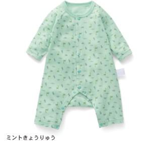 カエルロンパース ベビー服 フライス GITA ジータ 長袖 ロンパース 前開き 綿100% ベビー 服 新生児 男の子 女の子 新生児服  ミント恐竜 60 70 80