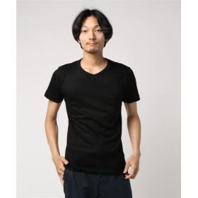 ESTNATION / テレコVネックTシャツ ブラック/SMALL(エストネーション)◆メンズ Tシャツ/カットソー