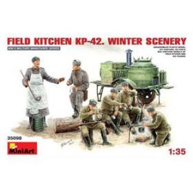 ミニアート 1/ 35 ソビエトフィールドキッチン KP-42 冬季Ver.(フィギュア6体入)(MA35098)プラモデル 返品種別B