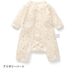 カエルロンパース ベビー服 フライス GITA ジータ 長袖 ロンパース 前開き 綿100% ベビー 服 新生児 男の子 女の子 新生児服  アイボリーハート 60 70 80