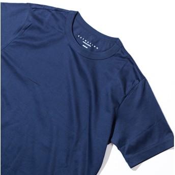 ESTNATION クルーネック半袖Tシャツ GIZAndyシリーズ ネイビー/SMALL(エストネーション)◆メンズ Tシャツ/カットソー