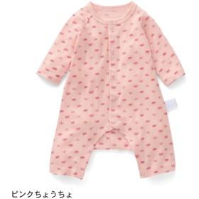 カエルロンパース ベビー服 フライス GITA ジータ 長袖 ロンパース 前開き 綿100% ベビー 服 新生児 男の子 女の子 新生児服  ピンクちょうちょ 60 70 80