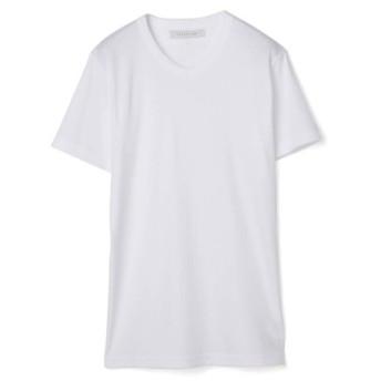 ESTNATION テレコVネックTシャツ ホワイト/SMALL(エストネーション)◆メンズ Tシャツ/カットソー