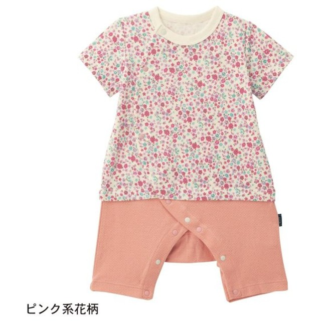ベビー ベビー服 ロンパース GITA ジータ 綿100% カエルロンパース 半袖 レイヤード風 花柄 ピンク系 60 70 80