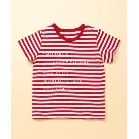 COMME CA FILLE / コムサ・フィユ ボーダ-メッセージ半袖Tシャツ