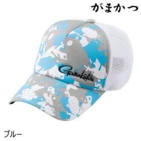 がまかつ ハーフメッシュキャップ(カエル) GM-9814 ブルー (釣り キャップ)