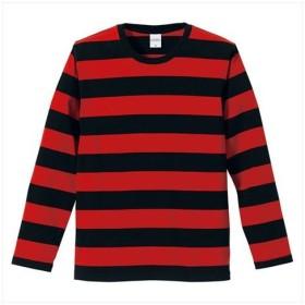 UnitedAthle(ユナイテッドアスレ) 5.0オンスボールドボーダーロングスリーブTシャツ ブラック/レッド