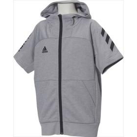 adidas(アディダス) (ジュニア 野球・ソフトボール用ウェア) Jr 半袖フードフルジップスウェット Mグレイヘザー
