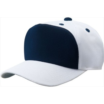 ZETT(ゼット) 【男女兼用・ジュニア 野球・ソフトボール用帽子】 フロントパネル型後メッシュキャップ ホワイト/ネイビーA