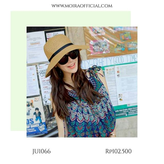 MOIR  Straw Hat Sun Hat Beach Seaside Visor Big Topi Pantai Import Korea ed9b7748ee