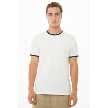Tシャツ - FOREVER 21【MEN】 【ストライプトリムリンガーTシャツ】Tシャツ カットソー 無地 白 ホワイト XS S M L 半袖tシャツ