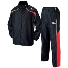 ミズノ ウィンドブレーカーシャツ&パンツ 上下セット ブラックレッドホワイト MIZUNO W2JE6501-96-W2JF6501-96