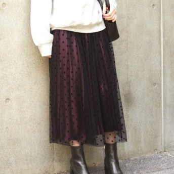 Spick and Span 4WAYサテンプリーツスカート◆ ボルドー 36