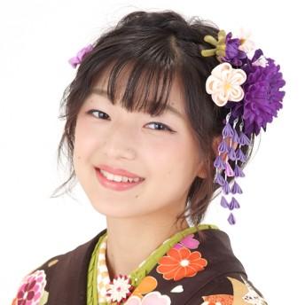 ヘアアクセサリー全般 - KIMONOMACHI 振袖 髪飾り2点セット「青紫色のお花、下がり飾り」つまみ細工髪飾り 髪飾りセット お花髪飾り 成人式の振袖に、卒業式の袴にも