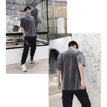 Tシャツ - BIG BANG FELLAS ベロア 光沢 デザインティーシャツ Tシャツ ハーフスリーブ ショートスリーブ 半袖 メンズ メンズファッション 無地 インナー韓国ファッション ストリート系 カジュアル 夏 春 個性 衣装韓流 原宿系 韓国ファッション 韓流 K-P