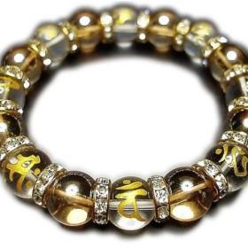 石街梵字金彫り水晶ブレスレット十二支御守り本尊天然石ゴールデンアクアオーラ12mm数珠