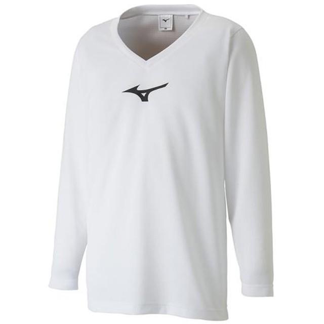 MIZUNO SHOP [ミズノ公式オンラインショップ] インナーシャツ(Vネック/長袖)[ジュニア] 01 ホワイト×ブラック P2MA8650