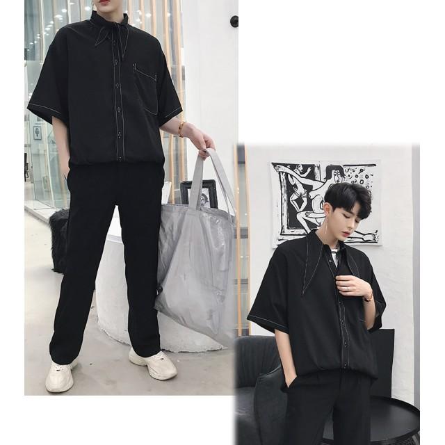 ワイシャツ - BIG BANG FELLAS デザインシャツ ショートスリーブ 半袖 ボタンダウン ゆったり メンズ メンズファッション 長袖 インナー 韓国ファッションストリート系 カジュアル 春 春物 夏 夏物 サマー 個性韓流 原宿系 韓国ファッション 韓流 K-POP