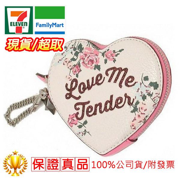 COACH 愛心造型防刮漆面皮革拉鍊零錢包/卡片夾(白色)