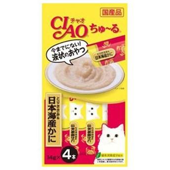 ちゅーる チュール 猫 おやつ チャオ ちゅ〜る とりささみ&日本海産かに 14g×4本 猫 ちゅーる
