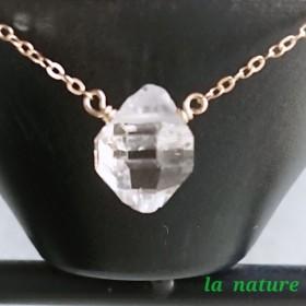 再販《一点もの》14kgf 大粒ハーキマーダイヤモンド一粒ネックレス
