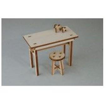 木製組立キット 1/12 欧風テーブルと丸イス[コバアニ模型工房]《取り寄せ※暫定》