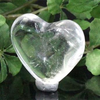 天然石 ブラジル産 ハート型 天然透明水晶 置物【FOREST 天然石 パワーストーン】 〔D2-2-32〕