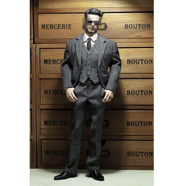 1/6 メンズ ストライプ スーツ C (ドール用衣装)(再販)[POP Toys]《在庫切れ》