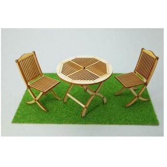 木製組立キット 1/12 ガーデンテーブル&チェアー(再販)[コバアニ模型工房]《取り寄せ※暫定》
