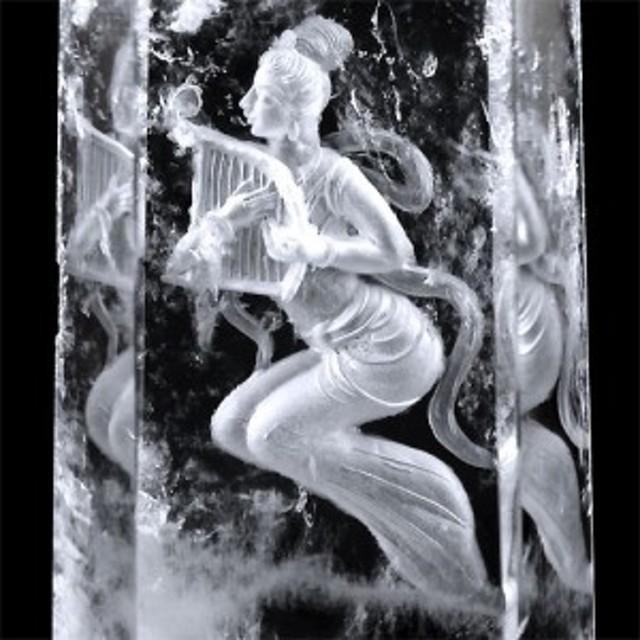 天然水晶裏彫りインタリオ 天女 ポイント 置物 天然石   〔D4-22-45〕