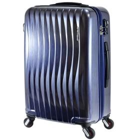 エンドー鞄 FREQUENTER wave フリクエンター ウェーブ 超静音 4輪 ファスナー スーツケース 58cm 56L ラインネイビー 1-621-LNV