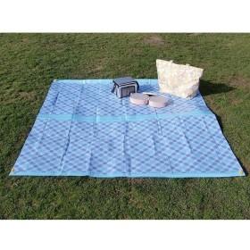 ユーザー クッションレジャーシート チェックブルー 2畳 バッグ付き 180×180cm