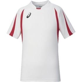 アシックス ゲームシャツ半袖 ホワイト×レッド asics XS1145 0123