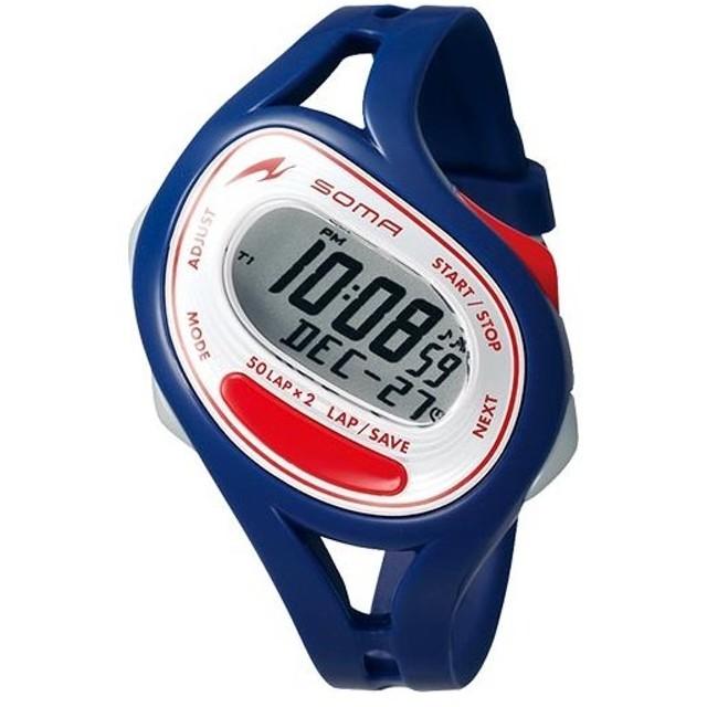 ソーマ(SOMA) RunONE 50 ランワン50 ネイビー/レッド NS23003 ランニングウォッチ スポーツウォッチ 腕時計 ランニング マラソン ジョギング ウォーキング