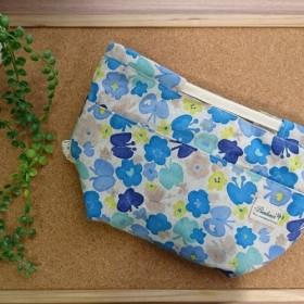 ハンドメイド バッグインバッグ 北欧風 ブルー お花とちょうちょ