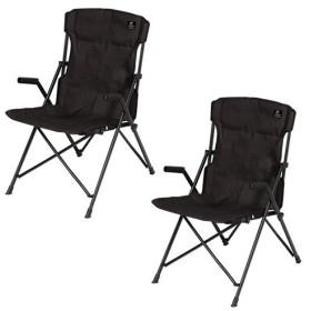 クイックキャンプ (QUICKCAMP) ハイバックチェア 2脚セット ブラック QC-HFC2 アウトドア用 軽量 折りたたみ チェア 椅子 イス 集束式 コンパクト 黒