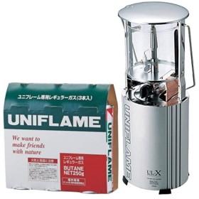 ユニフレーム UNIFLAME 2点セット フォールディングガスランタン UL-X クリア 620106 & ユニフレーム専用レギュラーガス 3本 650028 キャンプ ランタン