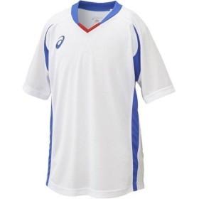 アシックス Jr.ゲームシャツHS ホワイト×ブルー asics XS3140 0145