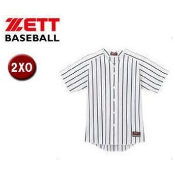ZETT/ゼット  BU631  ワイドストライプ リブメッシュシャツ(フルオープンスタイル) 【2XO】 (ホワイト×ブラック)