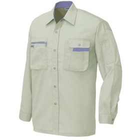 アイトス(AITOZ) 長袖シャツ(薄地) 004/アースグレー×ミストバイオレット AZ-5325 ワークウェア 作業着 メンズ レディース