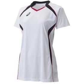 アシックス(asics) W'SゲームシャツHS XW1317 ホワイト×ブラック バレーボール レディース トレーニングウェア 半袖