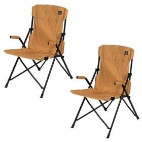 クイックキャンプ (QUICKCAMP) ハイバックチェア 2脚セット サンド QC-HFC2 アウトドア用 軽量 折りたたみ チェア 椅子 イス 集束式 コンパクト