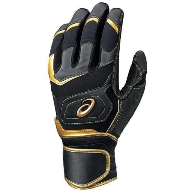 アシックス  <ゴールドステージ>GLORIOUS  バッティング用手袋(両手) ブラック×ゴールド asicsBB BEG150.9014