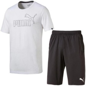 プーマ(PUMA) メンズ 半袖 Tシャツ & ハーフパンツ 上下セット ホワイトブラック/ブラック 592894 22/851922 01 トレーニングウェア スポーツウェア