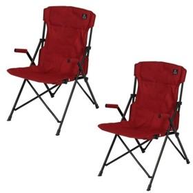 クイックキャンプ (QUICKCAMP) ハイバックチェア 2脚セット レッド QC-HFC2 アウトドア用 軽量 折りたたみ チェア 椅子 イス 集束式 コンパクト