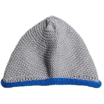 アディダス(adidas) ベビー Baby ニットビーニー ミディアムグレイヘザー/ブルー/ホワイト OSFTサイズ DSW22 DM5539 帽子 ニット帽 ニットキャップ 防寒