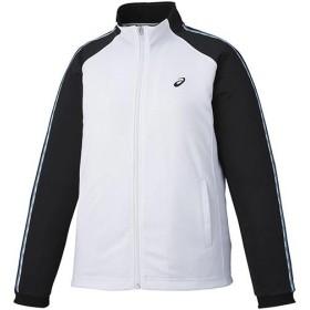 アシックス(asics) レディース トレーニングジャケット ホワイト×ブラック XAT191 0190 トレーニングウェア ジャージ スポーツウェア